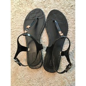 "Coach ""Piccadilly"" black thong sandals"